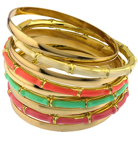 (Colorful color block bamboo texture multi bangles set total of 9 bangles metal textured)