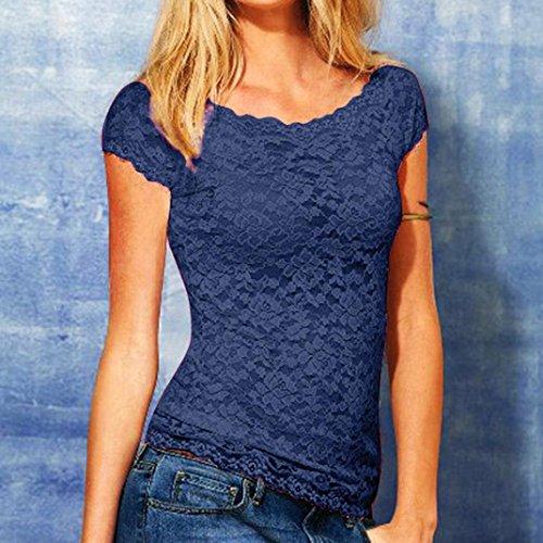 In A Blu Camicia Corte Camicetta Casual All'uncinetto Pizzo Da Corte T shirt Maniche Maglietta Tops Elegante Honestyi Donna Fit Slim Con ZWTYpHq