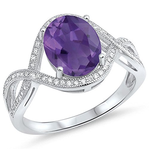 925 Sterling Silver Faceted Natural Genuine Purple Amethyst Oval Infinity Ring Size 9