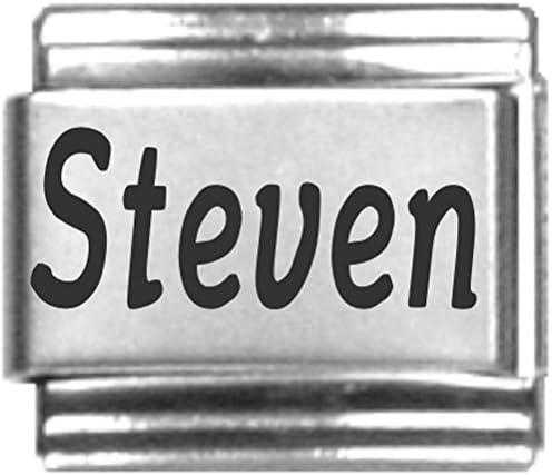 Steven Laser Name Italian Charm Link