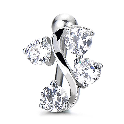 (COOLSTEELANDBEYOND Surgical Steel Belly Button Ring Body Jewelry Piercing Navel Ring Swirl Design with 4 Cubic Zirconia)