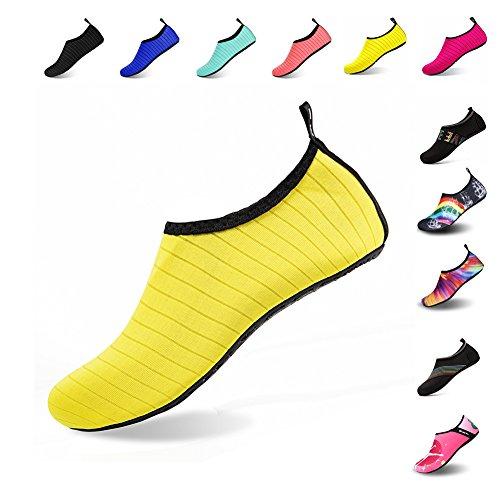 Mens Womens Water Shoes Barefoot Beach Pool Shoes Quick-Dry Aqua Yoga Socks for Surf Swim Water Sport (Yellow, 42/43EU)