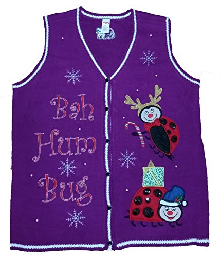 Women's Plus Size Christmas Bah Hum Bug Lady Bug Purple Sweater Vest - 1X (Fashion Bug Plus Size)