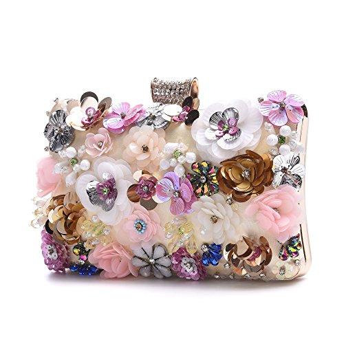 Women's Satin Flower Evening Clutch Pearl Beaded Evening Handbag Bridal Clutch Purse