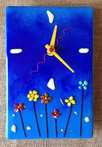 Blue Northern Fused Glass Wall Clock - Fused Glass Clock