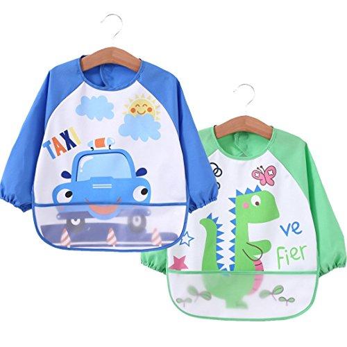 [2 pack] Baby bibs with pocket,Waterproof sleeved bib,100% polyester fiber Bibs for Teething Feeding Baby_CLRST5q by AaBbDd