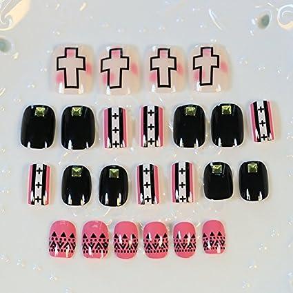 Kawaii Z326 - Clavos artificiales para decoración de uñas postizas, 24 unidades, color negro