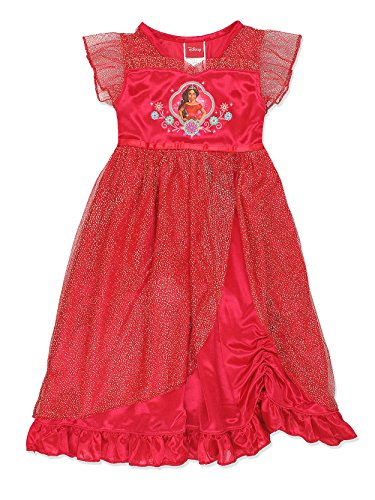 Disney Elena of Avalor Girls Fantasy Gown Nightgown (8, Red/Gold) -