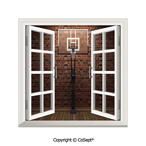 SCOXIXI Open Window Wall Mural,Old Brick Wall and Basketball Hoop Rim Indoor Training Exercising Stadium Picture Print,for Living Room(26.65x20 inch)