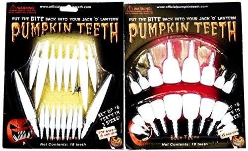 Jack O Lantern Decorative Pumpkin Teeth - Set of 2 -