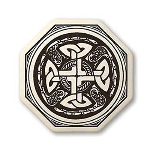 TP001 Celtic Cross Octagon Porcelain Pendant Necklace. Celestial Energy.