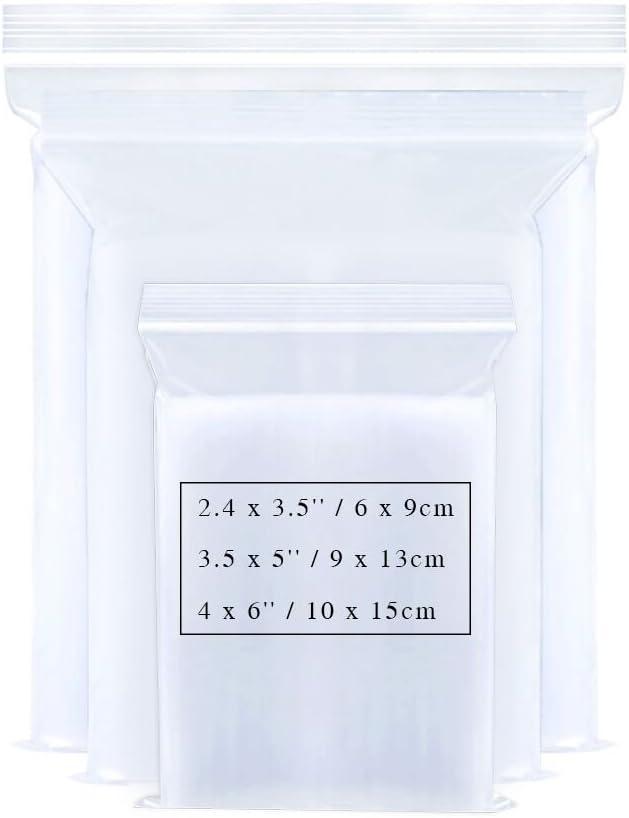 Bornfeel Bolsas con Cierre Zip 3 Tamaños 300 Piezas Bolsa Sellada Pequeña 2.4 x 3.5 / 3.5 x 5/4 x 6 Pulgadas Reutilizable Plástico Transparente para Embalaje de Comida la Joyería