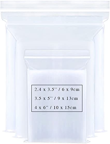 Beads Unlimited Confezione da 200 bustine di plastica con chiusura richiudibile da 5,7 x 5,7 cm