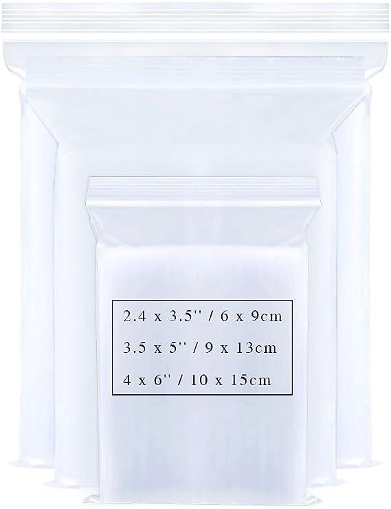 Couleur Transparent aoory Lot de 300 pcs Sachets Plastiques Zip a Fermeture OPP 6~15x4~10cm