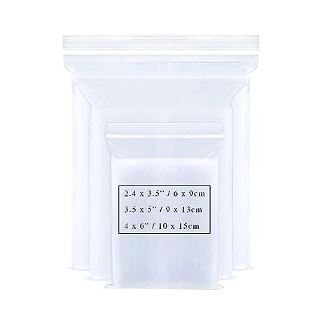 Bornfeel Bolsas con Cierre Zip 3 Tamaños 300 Piezas Bolsa Sellada Pequeña 2.4 x 3.5 / 3.5 x 5/4 x 6 Pulgadas Reutilizable Plástico Transparente para ...