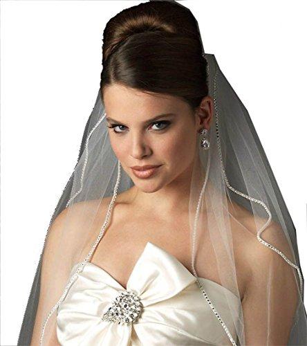 Scarlett 2 Layer Rhinestone Edge Tulle Elbow Length Wedding Bridal Headwear Veil with Comb (2 Layer Elbow)