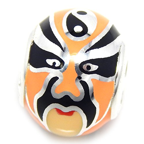 Chinese Ancient Costume Drama (Pro Jewelry 925 Solid Sterling Silver Black and Orange Chinese Opera Mask Spacer Charm Bead)