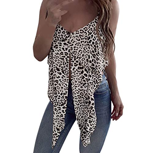 HYIRI Sexy V-Neck Leopard Vest,Women's LadiesSleeveless Shirt Pullover Blouse Tank Tops Black ()