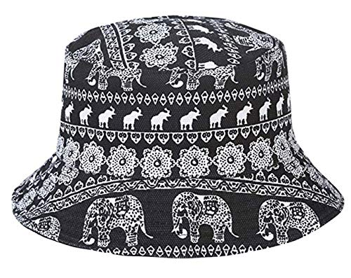 - Elephant Print Bucket Hat Vintage Animal Fisherman Cap Bohemia Reversible Packable Sun Caps