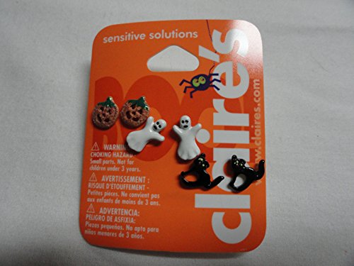 Set of 3 Halloween Stud Earrings - Pumpkin, Ghost, Black Cat for $<!--$2.00-->