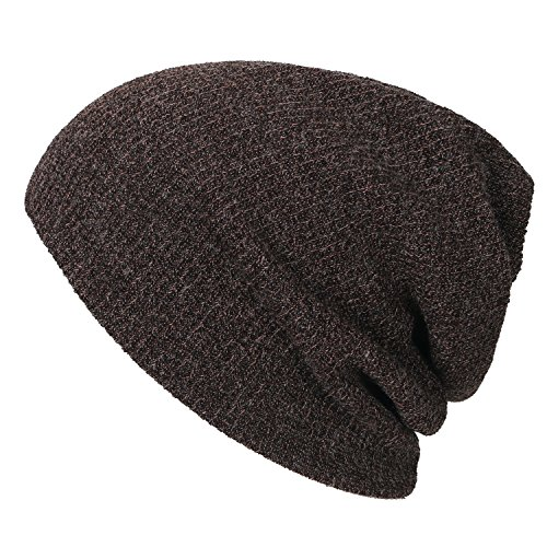 ililily Ribbed Knit Beanie Cap Skull Hat Neck Snood marrón