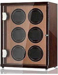 CHIYODA Watch Winder for 6 Watches, 6 Quiet Mabuchi Motors, LCD Display & Control Screen (Brown02)