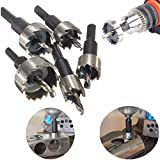 Drill Bit Hole Saw Kit, TFSeven 5 Pieces 16-30MM HSS Drill Bit Hole Saw Set Stainless High Speed Steel Metal Alloy Tool Kits