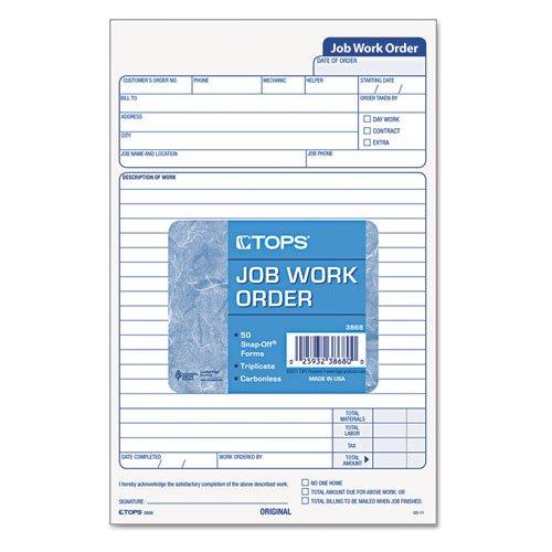 Carbonless Job Work Order Forms, 3-Part, 5-1/2''x8-1/2'', 50 Sets/Pack TOP3868