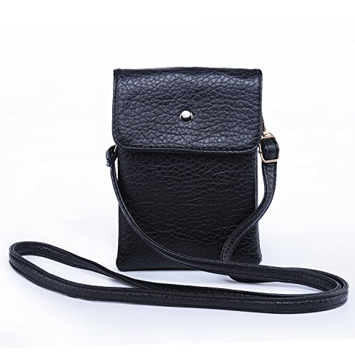 Small Crossbody Bag PU Leather Wallet Purse Women Cellphone Pouch w/Shoulder Strap + Katloo Nail Clipper