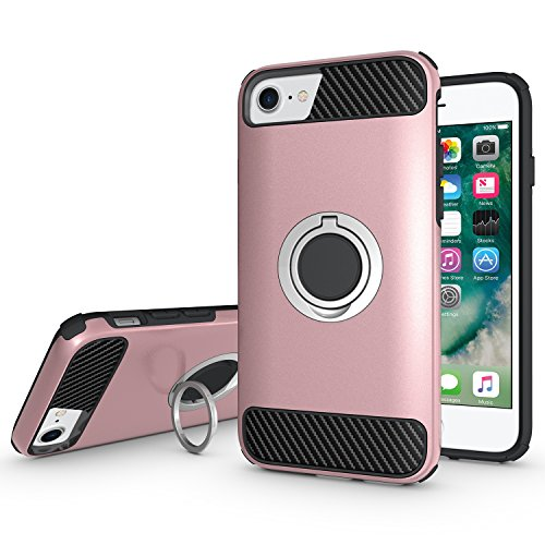 Ownest Compatible with iPhone 7 Plus,iPhone 8 Plus Case Armor Dual Layer 2 in 1 with Extreme Heavy Duty Protection and Finger Ring Holder Kickstand Magnetic Car Mount for iPhone 7/8 Plus -Rose Gold