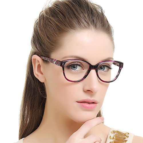 OCCI CHIARI Women Shine Acetate Eyeglasses Frames with Clear Lenses (Dark Purple, 53)
