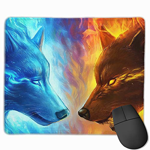 Smooth Mouse Pad Ice and Fire Wolves Mobile Gaming Mousepad Work Mouse Pad Office Pad -