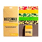 Beeswax Wrap - Beeswax Food Wrap - Set of 6 + Beeswax Bar 2 Large, 2 Medium, 2 Small Zero Waste Plastic-Free Food Storage Wrap - Includes 2 x 2 Inch Beeswax Bar to Rejuvenate Wraps Reusable Organic