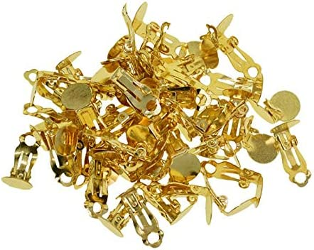 100 PCS Clip-on Earring Findings Pad Base Flat Back Round Tray Blank Setting No Need Ear Pierced Non Piercing Jewelry Accessories Golden