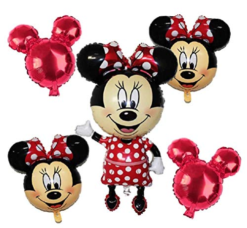 Minnie Mouse Party Themes (Minnie Mouse Theme Party Balloons - Birthday Balloon Set Baby Shower - Jumbo Mickey Body Small Heads - Red Black White Mylar Decorations - Combined Brands Bundle with Ribbon by)