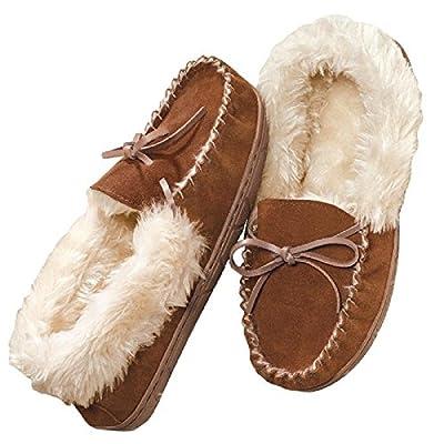 AVON Women's Genuine Suede Moccasin Slipper, Brown and White