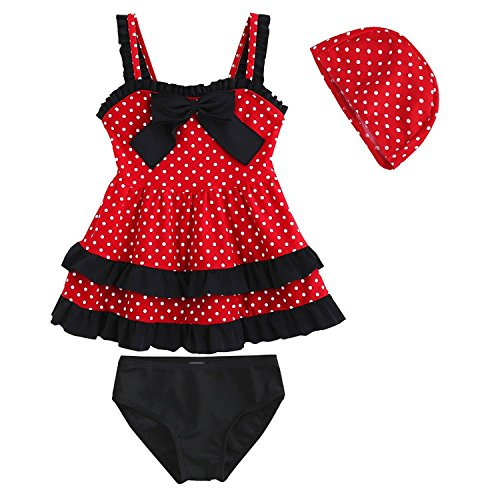 ls Bathing Suit Lace Bow Dot Two Piece Swimsuit Swimwear 3 Red ()