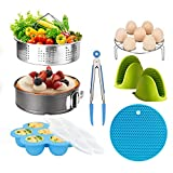 Pressure Cooker Accessories Set Steamer Basket, Egg Bites Mold, Egg Rack, Silicone Mini Oven Mitts, Food Tong, Insulation pads, Springform Pan Fits for 6/8 Qt IP Pot Models (8pcs)