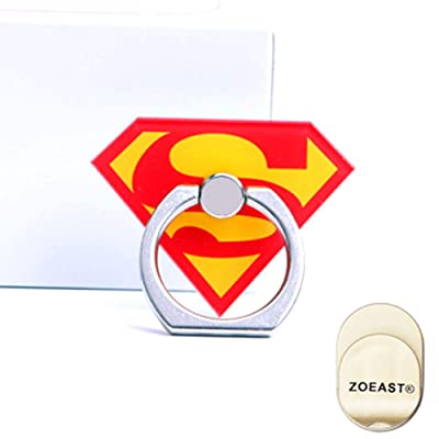 ZOEAST(TM) Phone Ring Grip Marvel Super Hero Universal 360° Adjustable Holder Car Hook Stand Stent Mount Kickstand Compatible with All iPhones Samsung Android Pad Tablet (Superman)