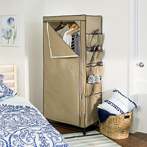 Honey-Can-Do WRD-01270 27-Inch Wide Storage Closet with 9-Side Storage and Shoe Bins, Tan - bedroomdesign.us