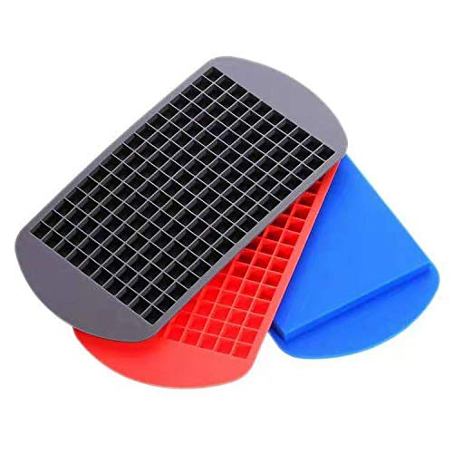 Hinxin3Pack160 Grid Mini Silicone Ice Cube Tray - Flexible Stackable Mini Whiskey Juice Salad Ice Cube Mold, Kitchen Bar Party Drink Chocolate Mold (Red + Blue + Black).