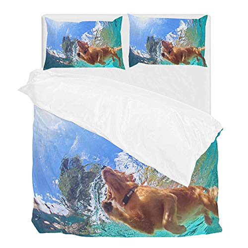 COVASA Underwater Golden Labrador Retriever Puppy Summer Cover Set Full Bedding Set Covers 1 Cover and 2 Pillow Shams Without Comforter, ()