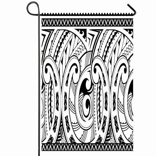 Ahawoso Outdoor Garden Flag 12x18 Inches Pattern Tattoo Maori Good Sleeve Abstract Ancient Tribal Samoa Hawaii Curve Design Vintage Seasonal Home Decorative House Yard Sign