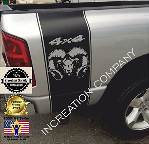 Dakota 1500 2500 Black Rear Side Bed Decals, 4x4 Logo off road Stripes Vinyl Stickers, 5.7 L auto Graphics SRT hellcat, Mopar, Hemi Rebel (Dodge Dakota Srt)