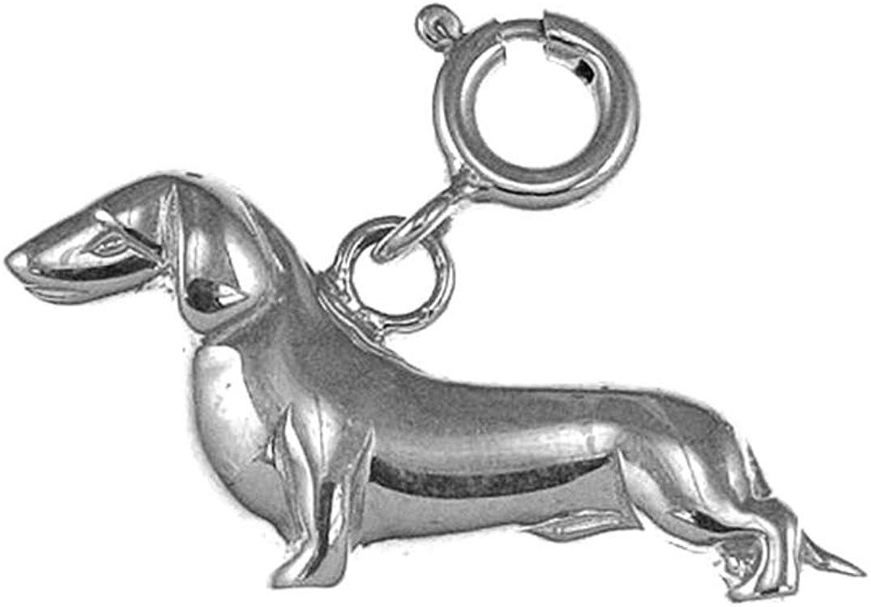 14 mm Jewels Obsession Dauchshund Dog Pendant Sterling Silver 925 Dauchshund Dog Pendant