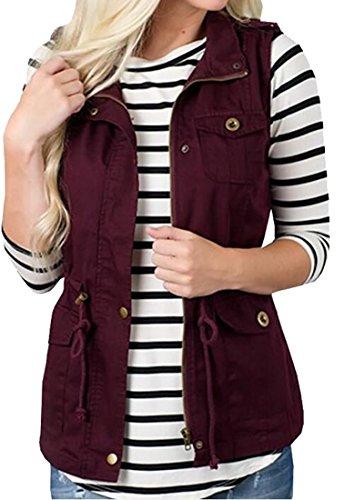 Herringbone Belted Jacket (Fensajomon-Women Waistcoat Multi-Pockets Belted Casual Vest Jacket Outwear 2 L)