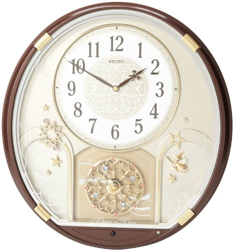 Elegant-looking clock with a brown metallic case.