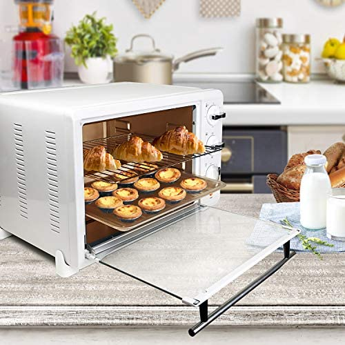 KING.Chef Toaster Oven, Toaster Ovens Countertop 6 Slice with 120-Min Timer Convection Toaster Oven - 1400 Watts of Power, Stainless Steel, Includes Baking Pan , Broil Rack, Rotisserie Lift, Rotisserie Shaft, White