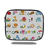 Laptop Sleeve Case,Educational,Cute Kids Alphabet with Fruits Animals Prince Princess Cheerful Colorful Design Decorative,Multicolor,iPad Bag