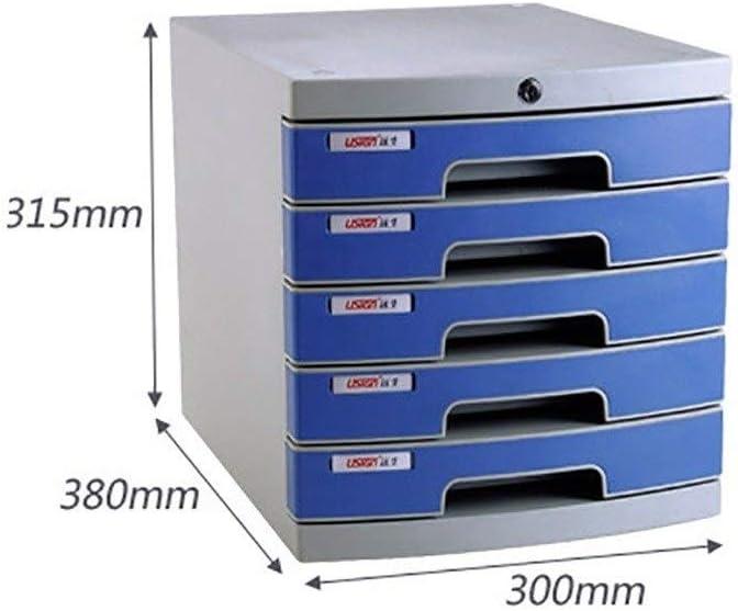 Desktop File Cabinet Drawer Organizer 5-Layers Lockable with Blank Label Plastic Blue